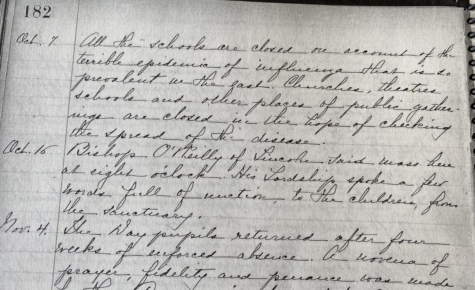 October 7, 1918 House Journal entry